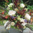 開院祝いに ワイルドフラワー、バラ(フジ)その他茶系の花で 6月初旬