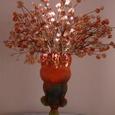 ガラス作家内田国太郎さんの花器にミツマタを生けて 3月下旬