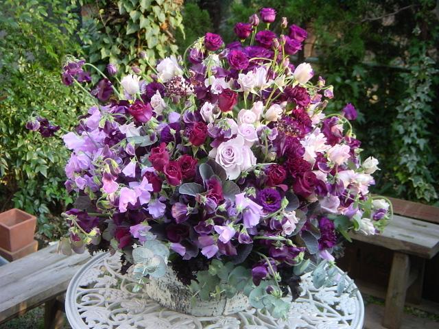 85歳のお誕生日に 紫の花を散りばめて 12月下旬