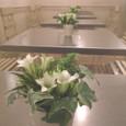 カフェ 「ル・ジャルダン・ドゥ・ジュリアン」 みなとみらい テーブル花15卓分 リンドウ、オーニソガラム、アイビー 10月中旬