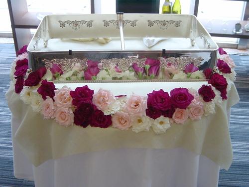 ケーキ装花(ピンク~ムラサキ系) 7月