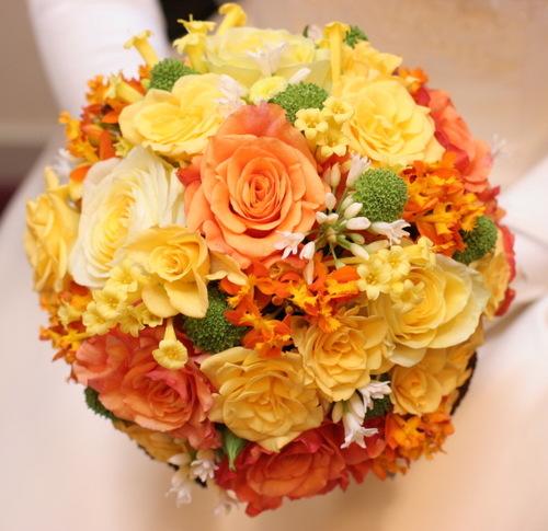 2008年3月 ブーケ(黄、オレンジバラをメインに)1