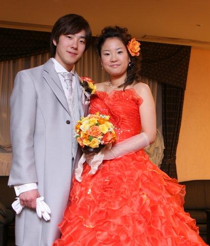 2008年3月 ブーケ(黄、オレンジバラをメインに)2