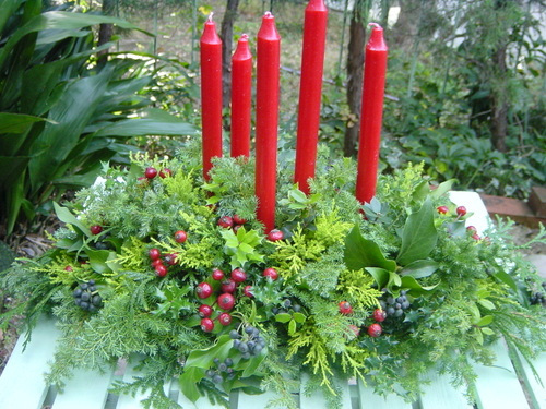 クリスマスパーティのテーブル装花 12月初旬