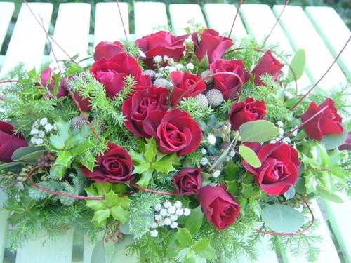 クリスマスパーティのテーブル装花 12月中旬