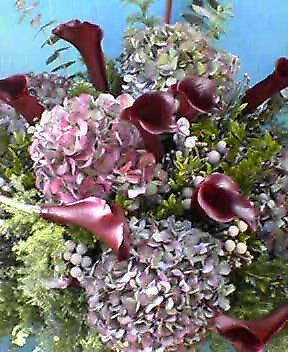 開店花(シックな色のアジサイとカラーで) 12月初め